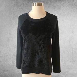 ELIE TAHARI Black Faux Fur Front Sweatshirt XS